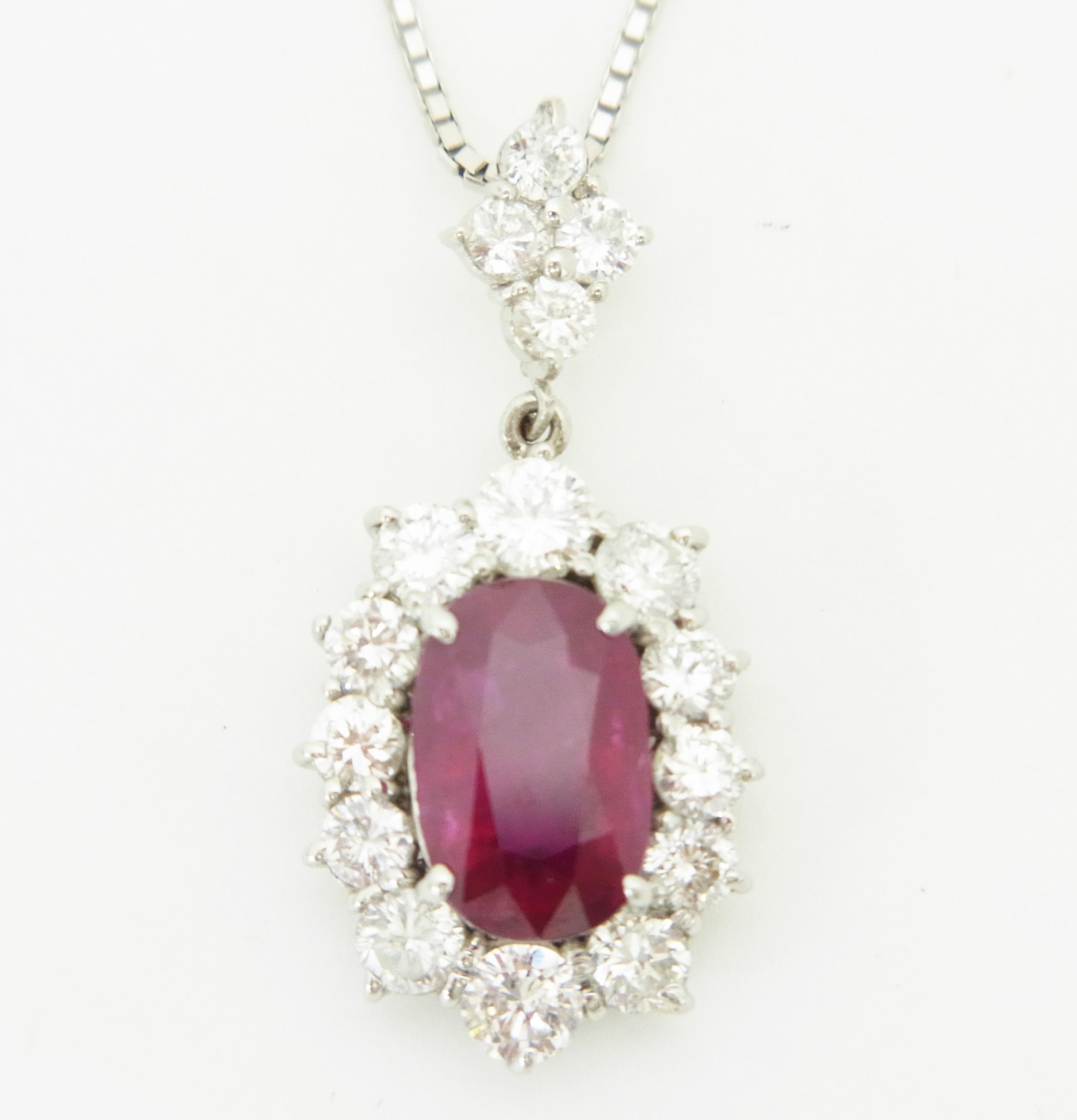 ルビーネックレス 【石目】ルビー3.041ct ダイヤモンド…の画像