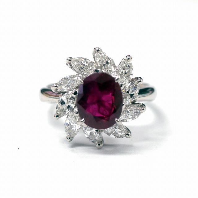 【形状】リング 【宝石】ルビー/ダイヤ 【素材】プラチナの画像