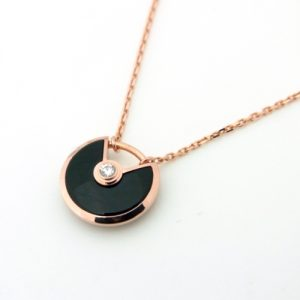 アミュレット ネックレス K18PG オニキス×1Pダイヤモンド