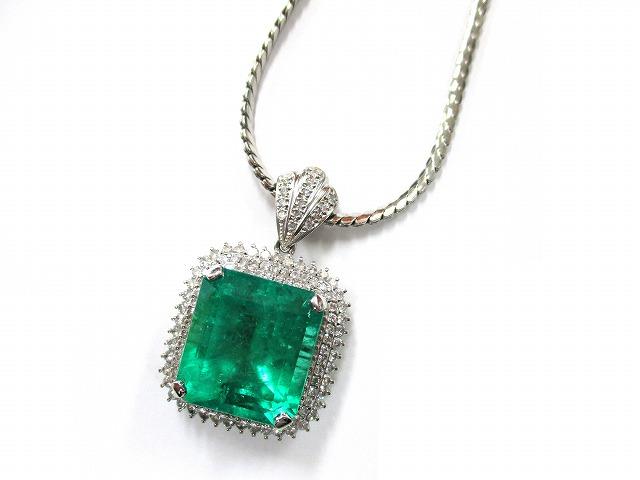 【主石】エメラルド 【脇石】ダイヤモンド 【素材】プラチ…の画像