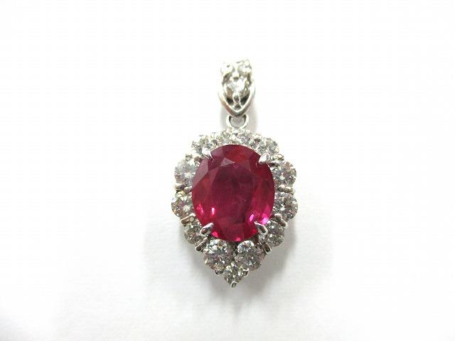 【主石】ルビー 【脇石】ダイヤモンド 【形状】ペンダント…の画像