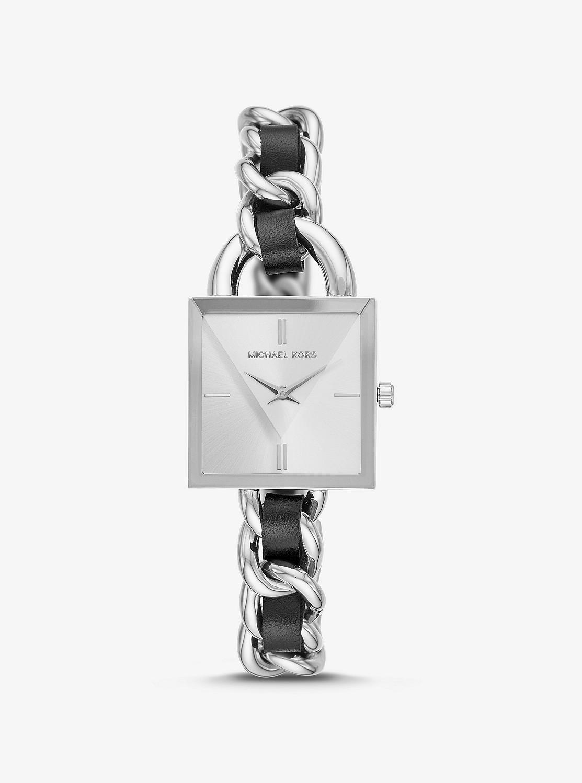 「チェーン×レザー ステンレススチール 腕時計」のイメージ画像