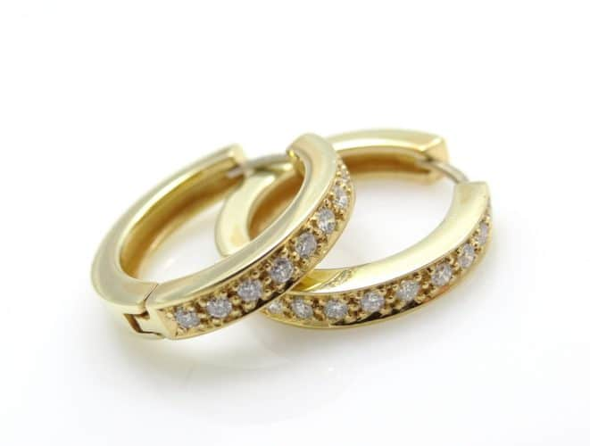 Women's,Vintage,Gold,Ring-shaped,Earrings,With,Diamonds,On,A,White